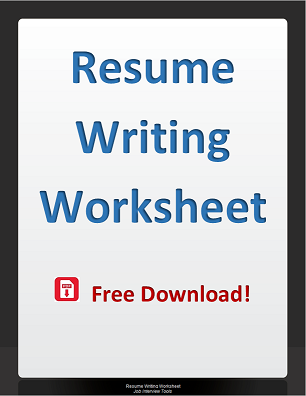 Resume Writing Worksheet
